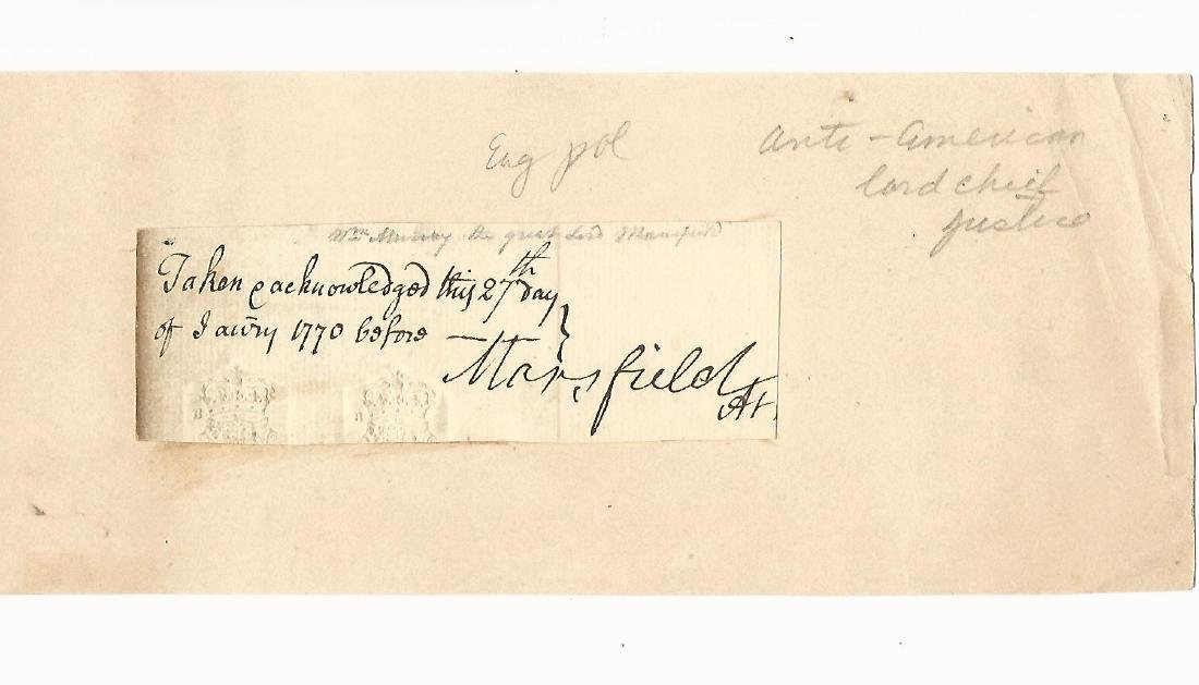 1770 Signature of Lord Mansfield English Chief Justice