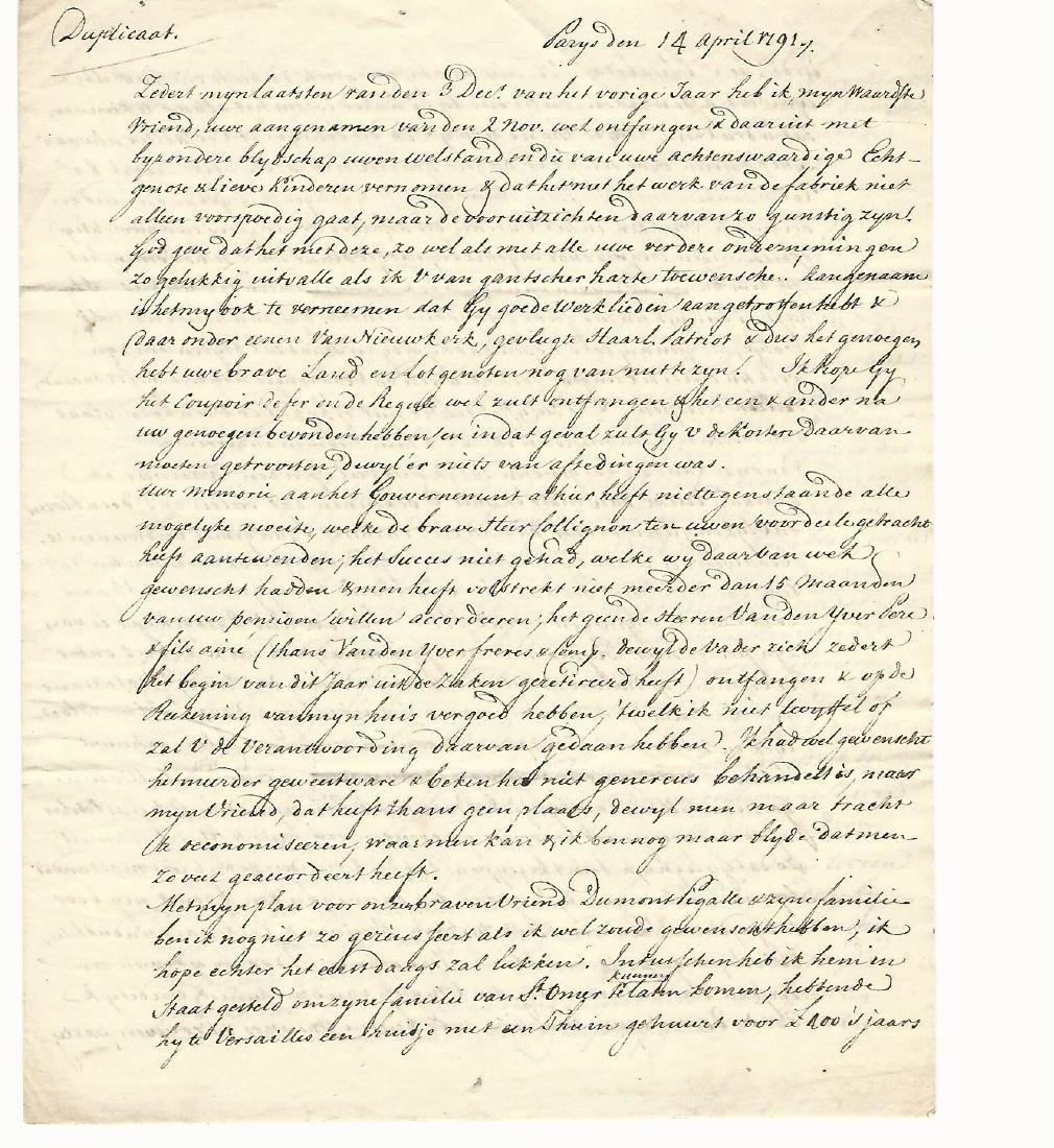 1791 Interesting Letter in Dutch