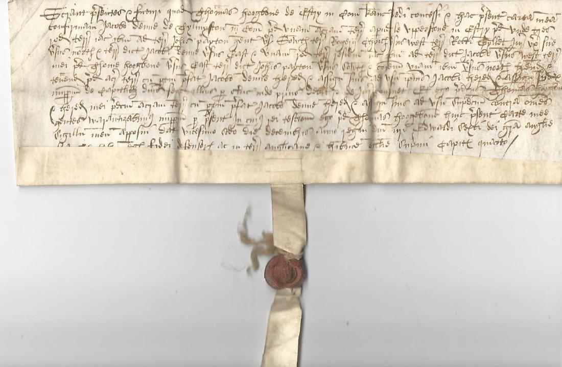 1550 English Vellum Grant Reign of Edward VI Fine Seal