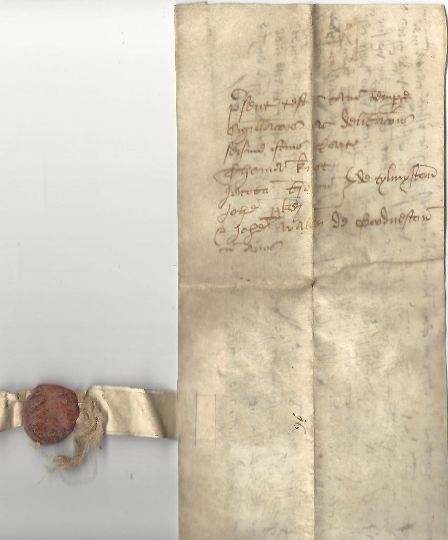 1550 English Vellum Grant Reign of Edward VI Fine Seal - 2