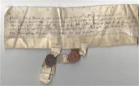 1357 Medieval English Grant w/ 2 Fine Seals Edward III
