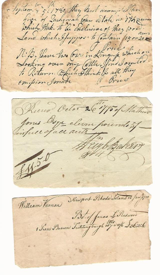 1750 Three Colonial and Later American Documents