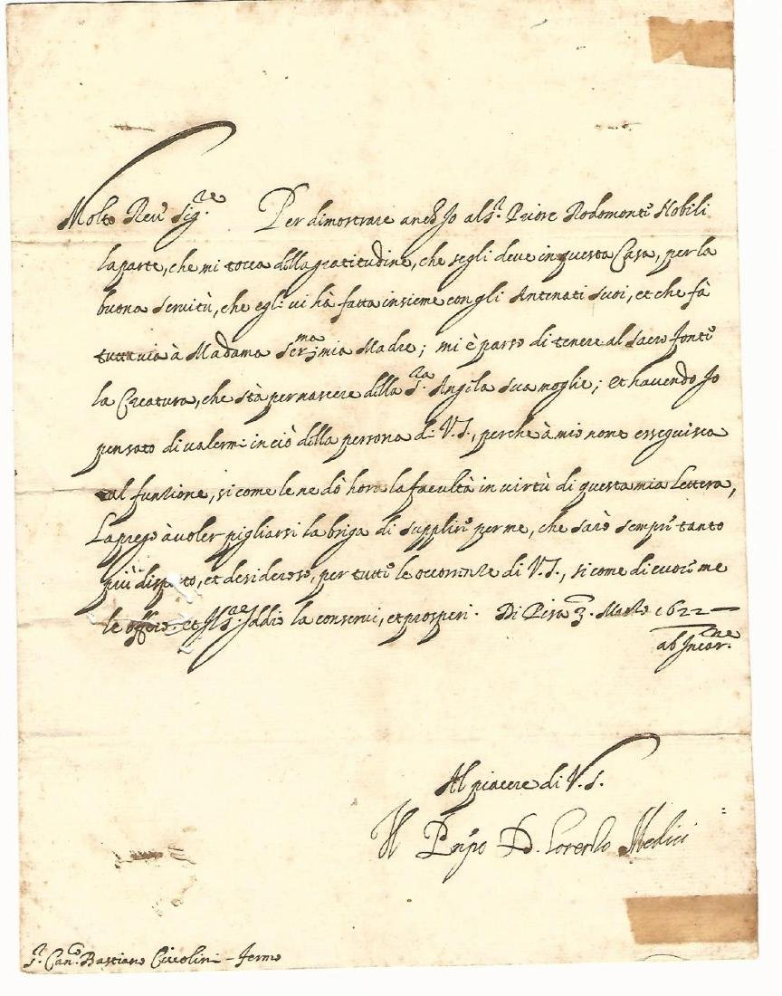 1622 Medici Manuscript Letter Signed Pisa