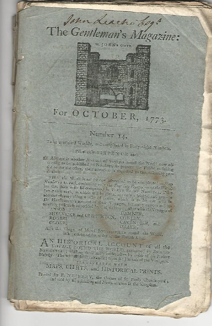 1773 Gentleman's Magazine Original Blue Wrapper Voyages - 2