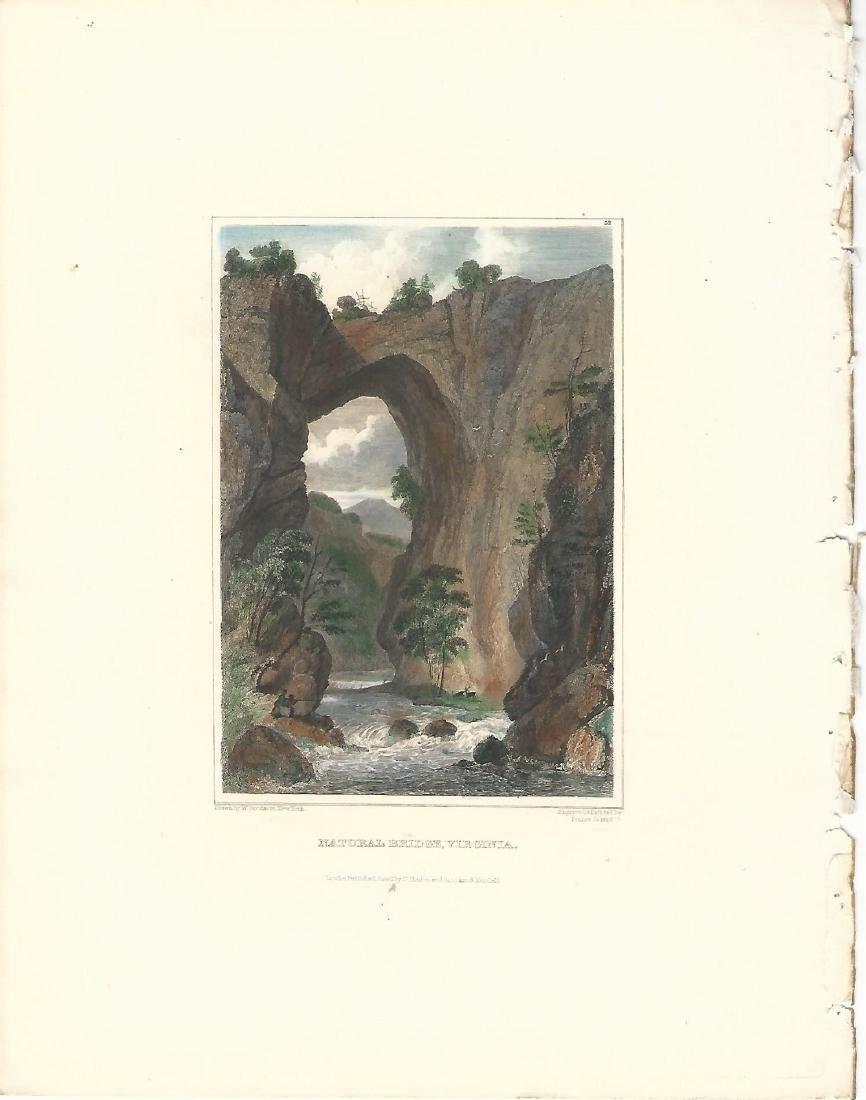 1860 2 Engravings Hand Colored Natural Bridge Virginia