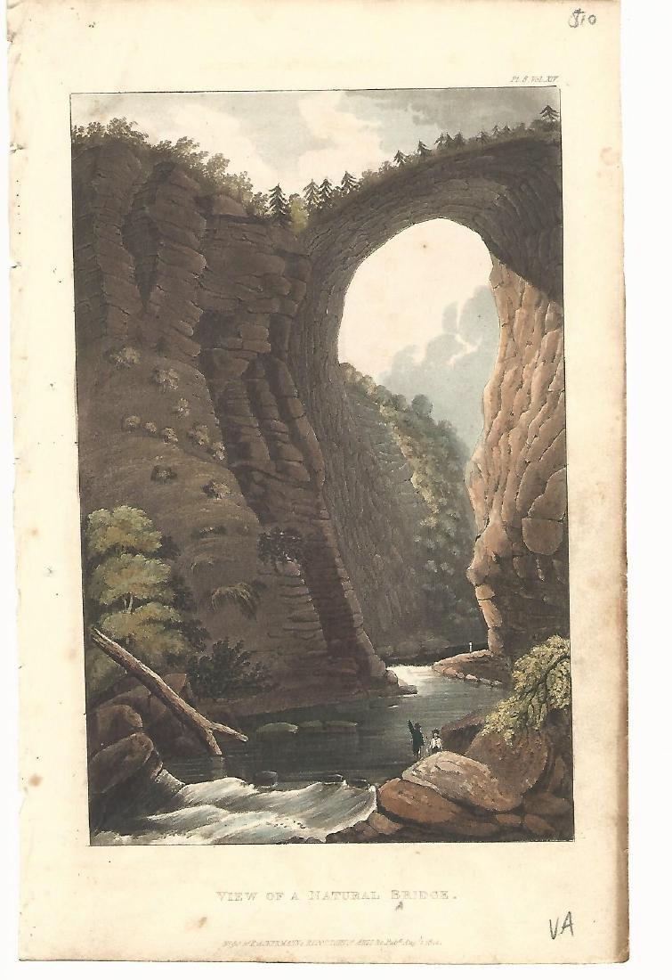 1860 2 Engravings Hand Colored Natural Bridge Virginia - 2