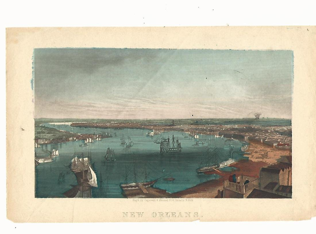 c1850 Handcolored Print of the port of New Orleans