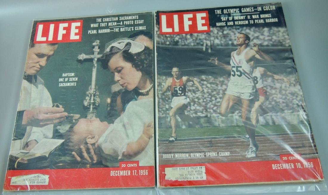 LIFE 1956, 2 Issues, Pear Harbor & Olympics