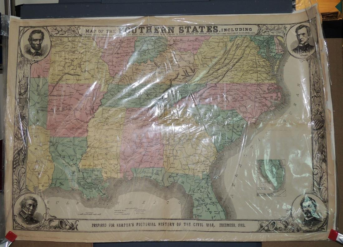 Original Harper's Southern States Civil War Map, C 1863