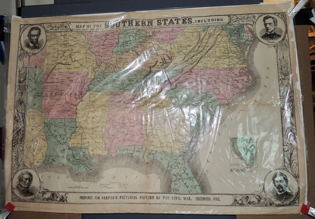 Original Harper's Southern States Civil War Map, C 1863 - 2