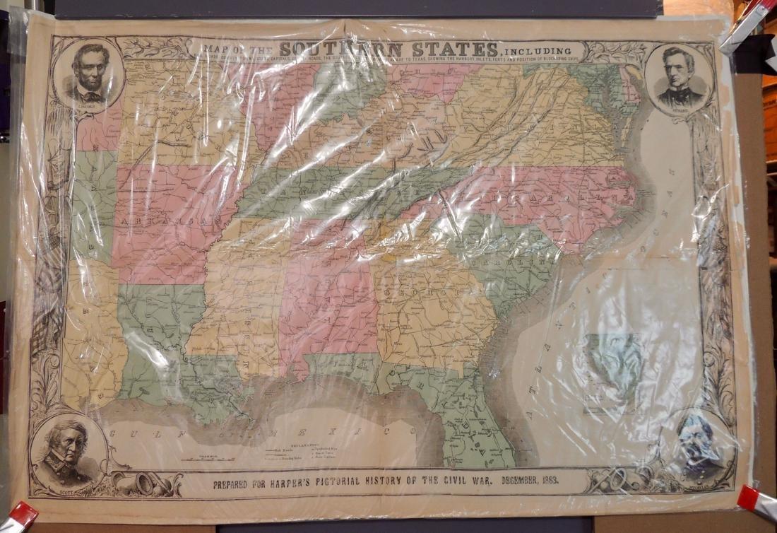 Original Harper's Southern States Civil War Map, C 1863 - 3