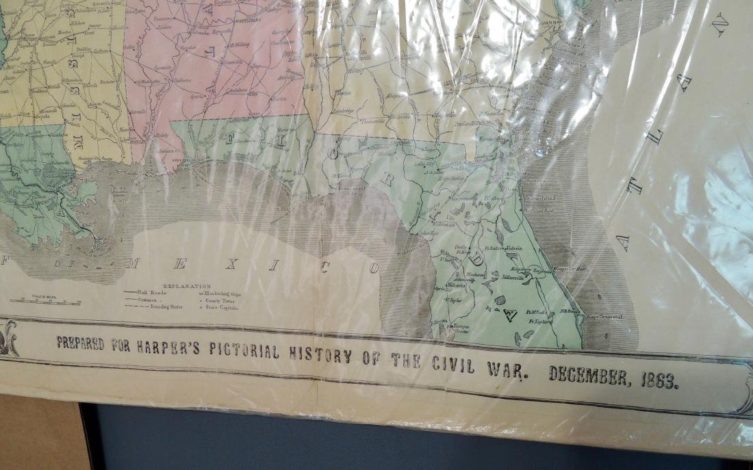 Original Harper's Southern States Civil War Map, C 1863 - 4