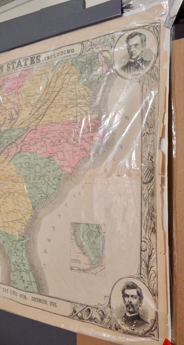 Original Harper's Southern States Civil War Map, C 1863 - 6