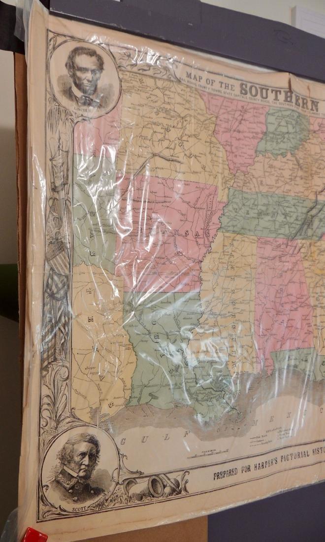 Original Harper's Southern States Civil War Map, C 1863 - 7