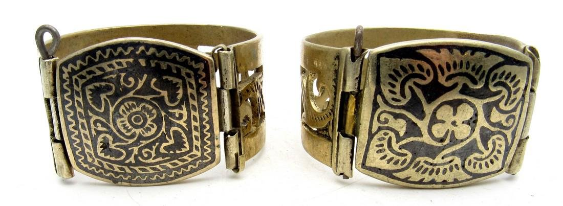 Pair of Bedouin Yemeni Wide Bracelets