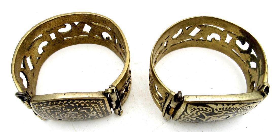 Pair of Bedouin Yemeni Wide Bracelets - 2