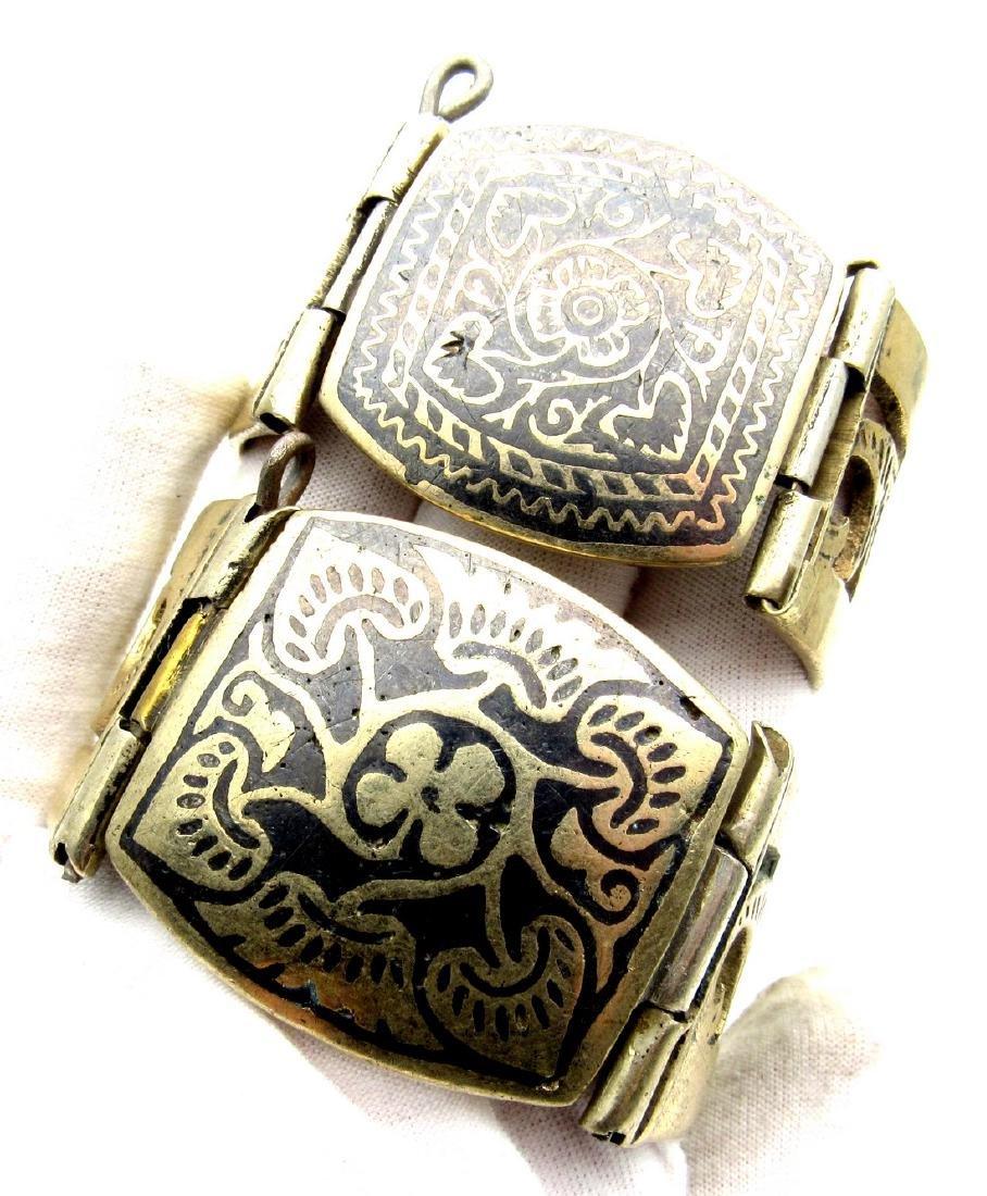 Pair of Bedouin Yemeni Wide Bracelets - 3