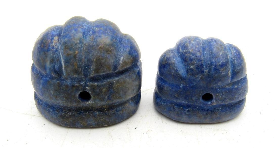 Pair of Middle Eastern Lapis Lazuli Seal Beads