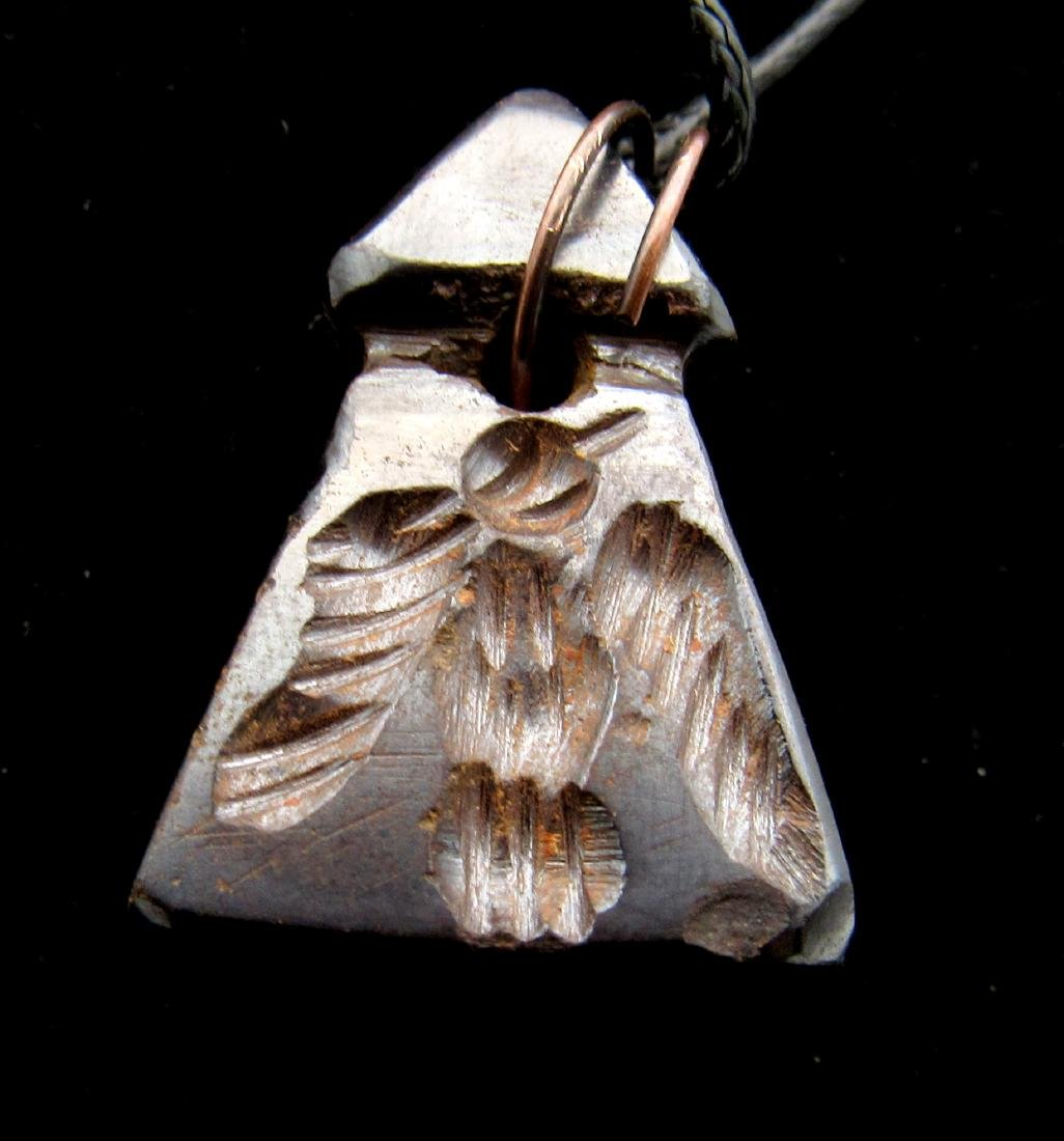 Middle Eastern Tribal Hematite Carved Pendant - 2