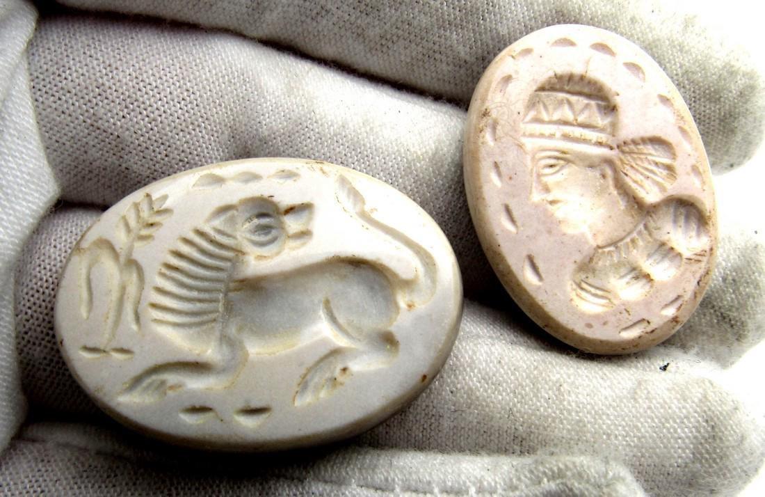 Pair of Sassanian Style Near Eastern Agate Intaglios