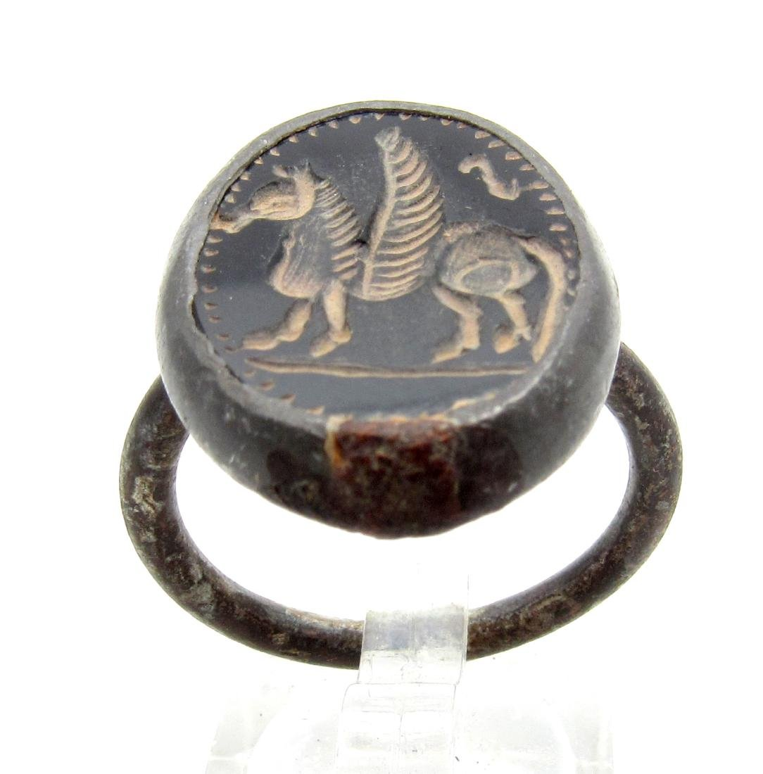 Middle Eastern Intaglio Ring with Onyx Stone