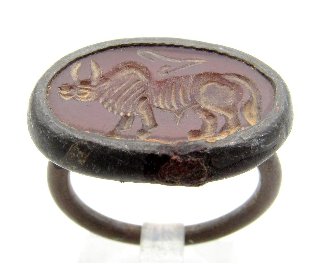 Middle Eastern Intaglio Ring with Carnelian