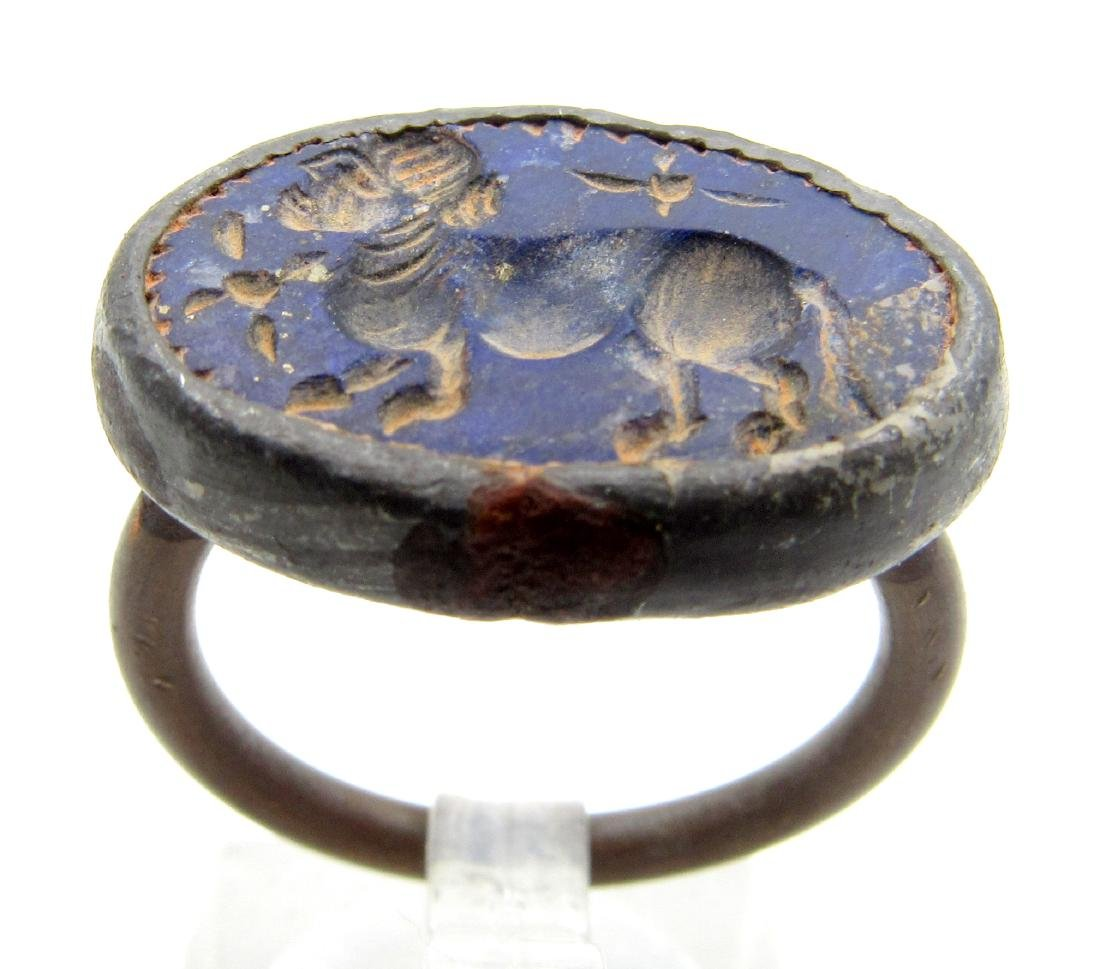 Middle Eastern Intaglio Ring with Lapis lazuli