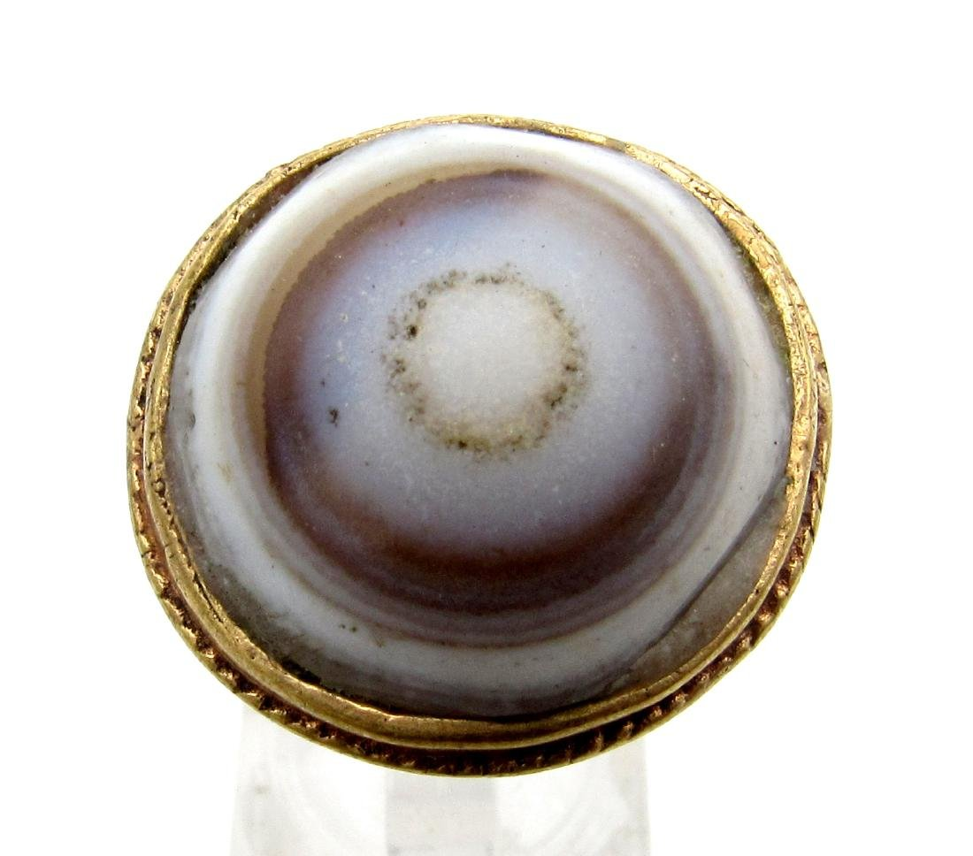 Middle Eastern Ring with Large Agate Stone - 2