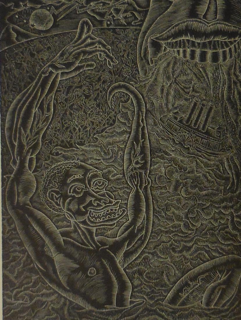 Becker, Fred Wood engraving, 1938 Birth of John Henry
