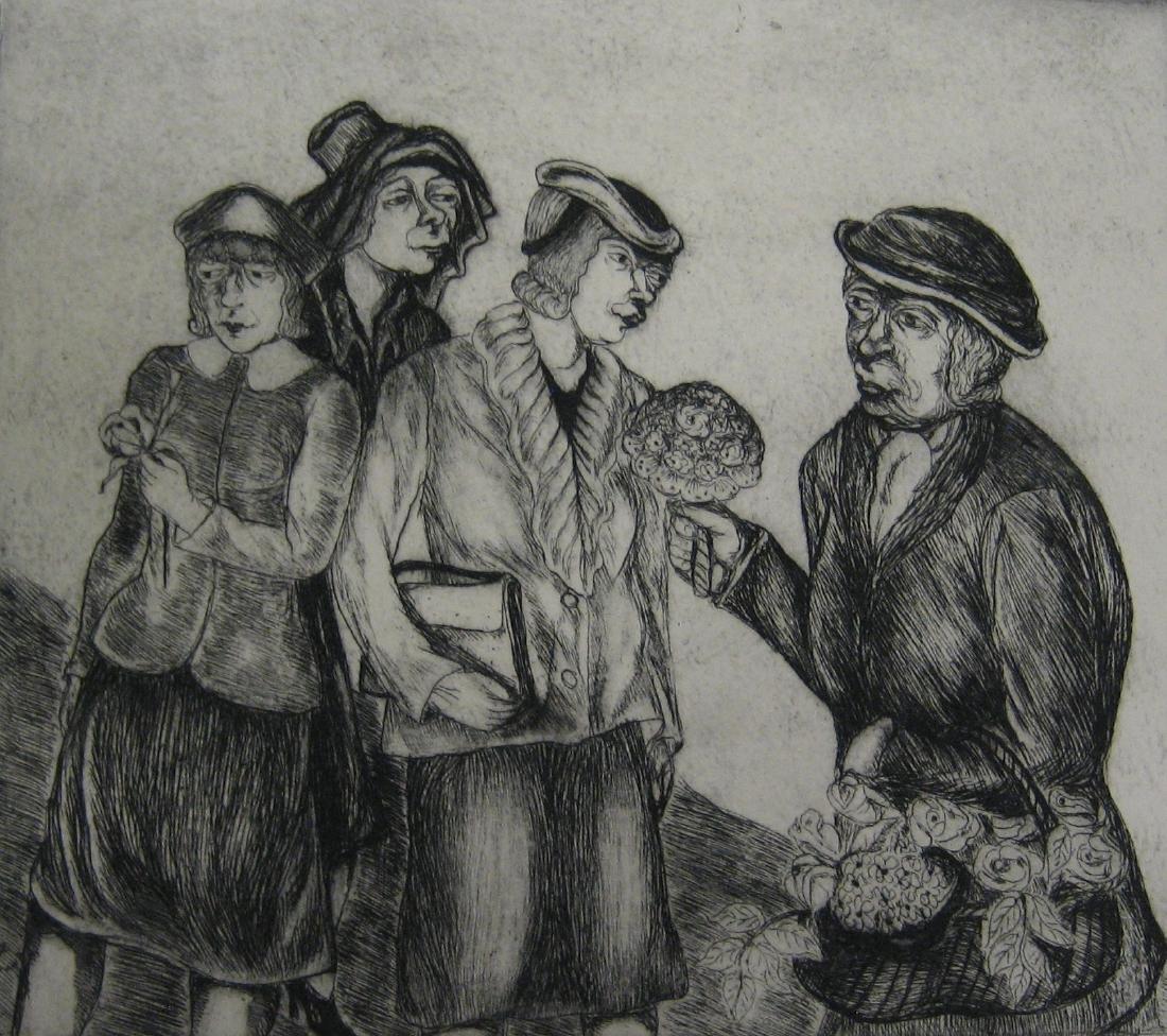 Berman, Sarah Etching, c. 1945 The Flower Vendor