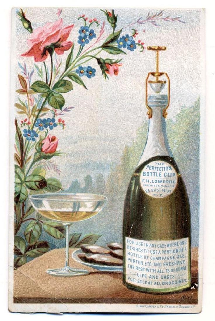 1884 Champagne Wine Bottle Trade Card Perfection Bottle