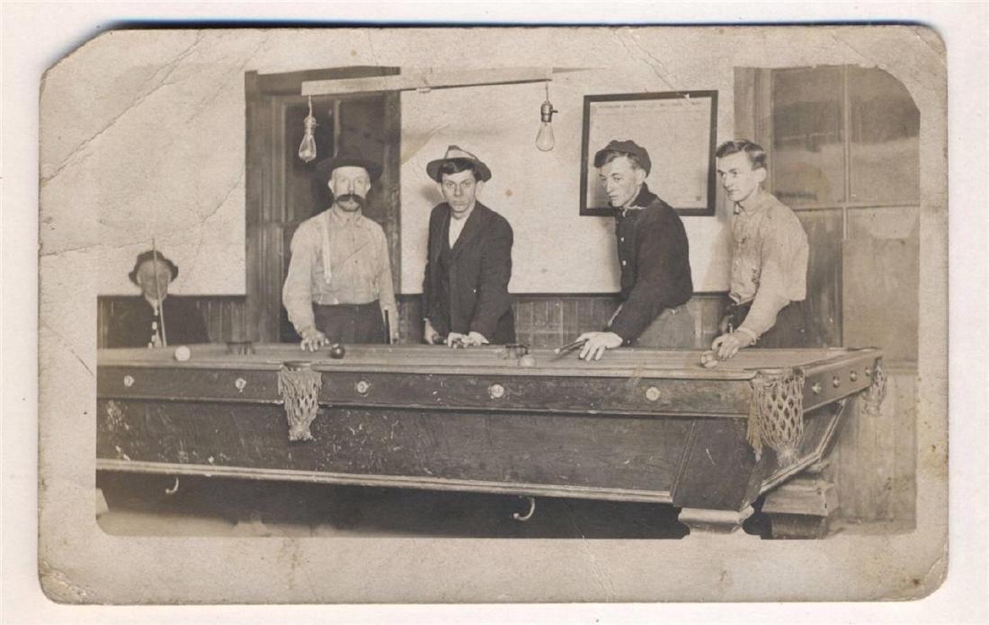 Rare 1920 RPPC Men Playing Pool Billiards Pool Table