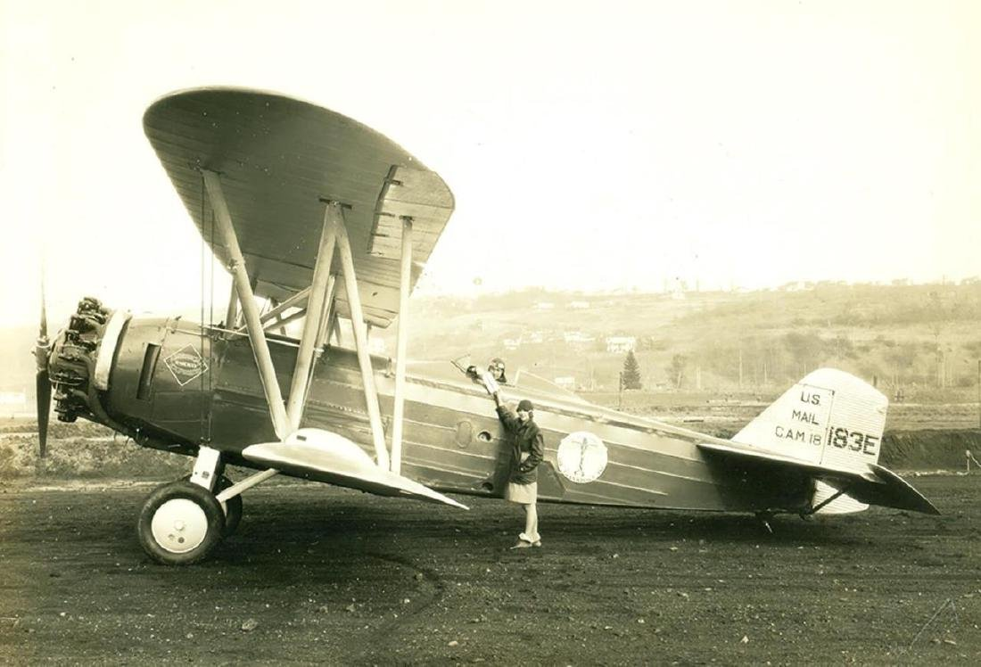 Vintage 1928 US Mail Airplane, Pilot Photograph