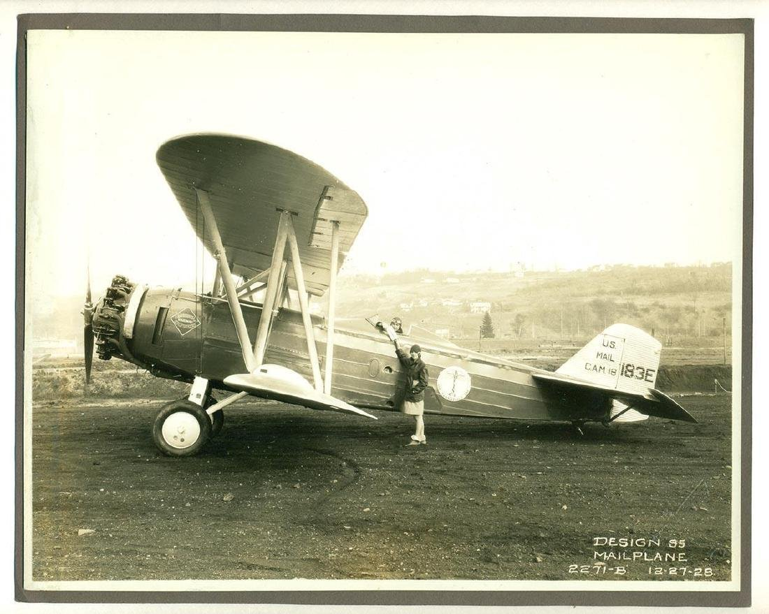 Vintage 1928 US Mail Airplane, Pilot Photograph - 2