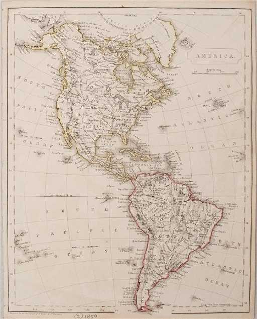 Antique Map Of North America.Becker Antique Map Of North And South America 1850