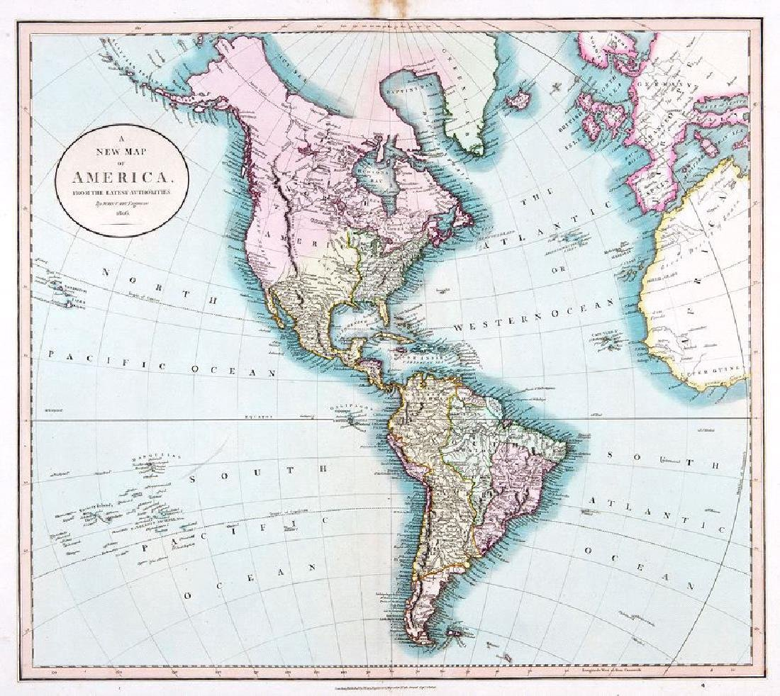 Cary: Antique Map of the Western Hemisphere, 1806