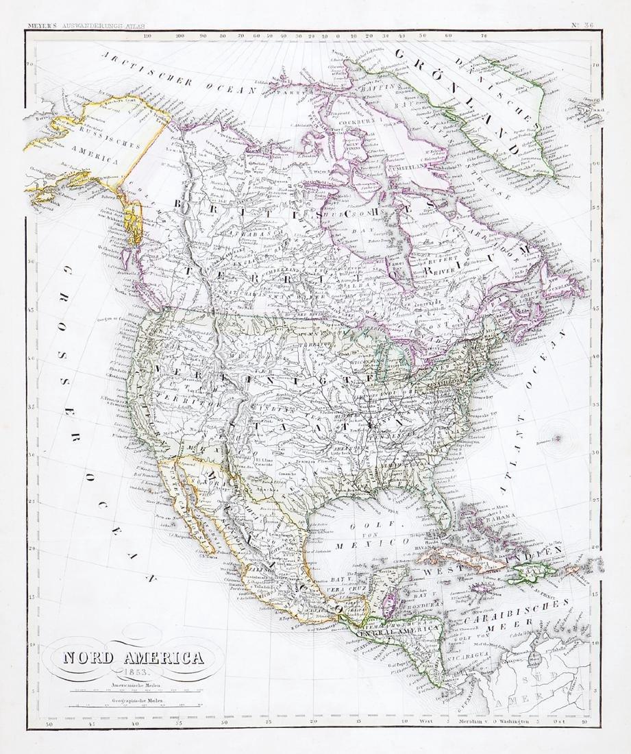 Radefeld: Emigrant's Atlas North America Map, 1849