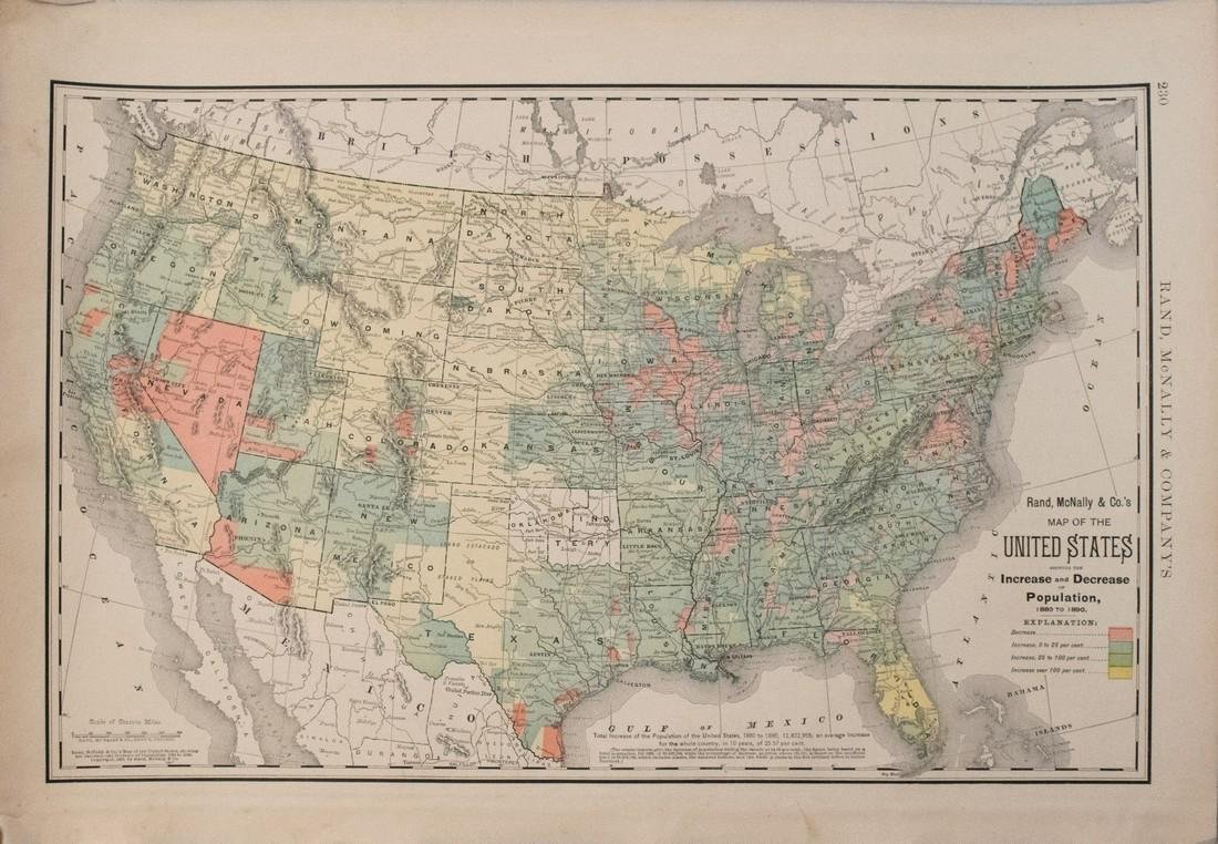 Rand McNally: Antique US Population Trend Map, 1892
