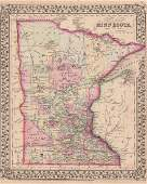 Mitchell: Antique Map of Minnesota, 1870