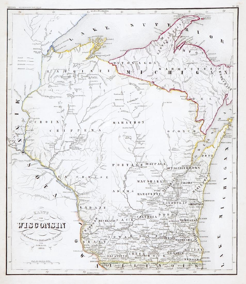 J. Graessl: Antique Map of Wisconsin, 1849