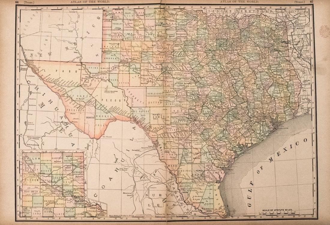 Rand McNally: Antique Map of Texas, 1894
