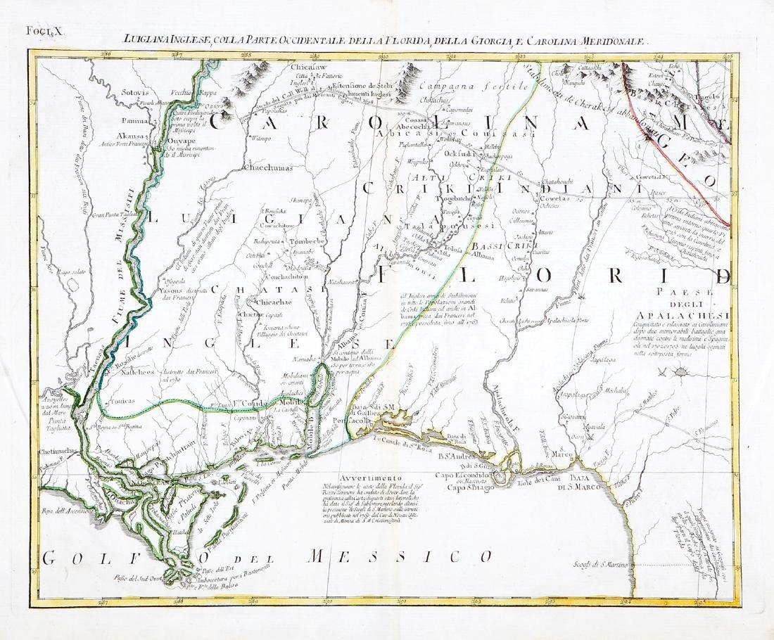 Zatta: Antique Map of English Louisiana, Florida, 1778