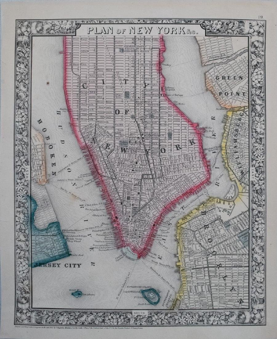 Mitchell: Antique Map of New York City, 1860