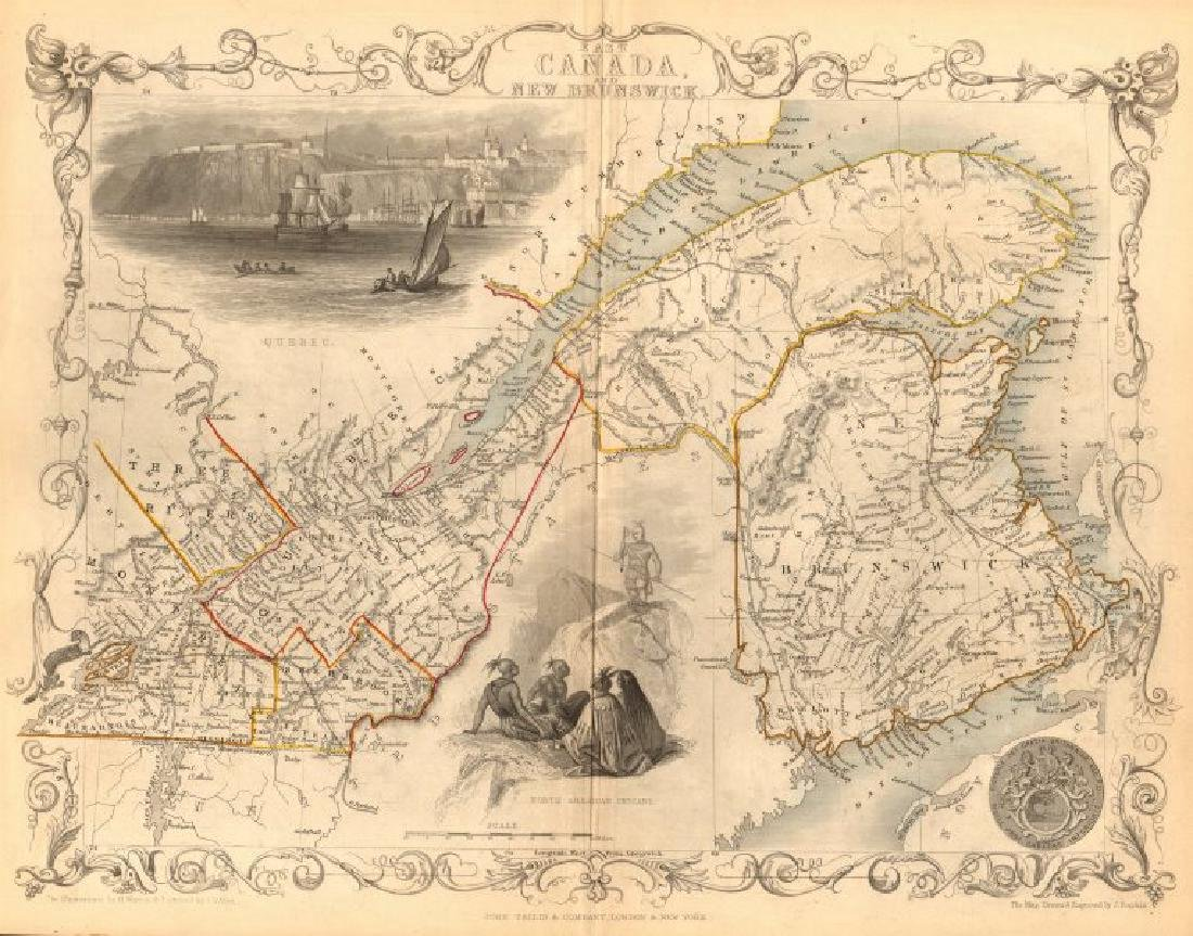 Tallis/Rapkin: Antique Map East Canada & New Brunswick