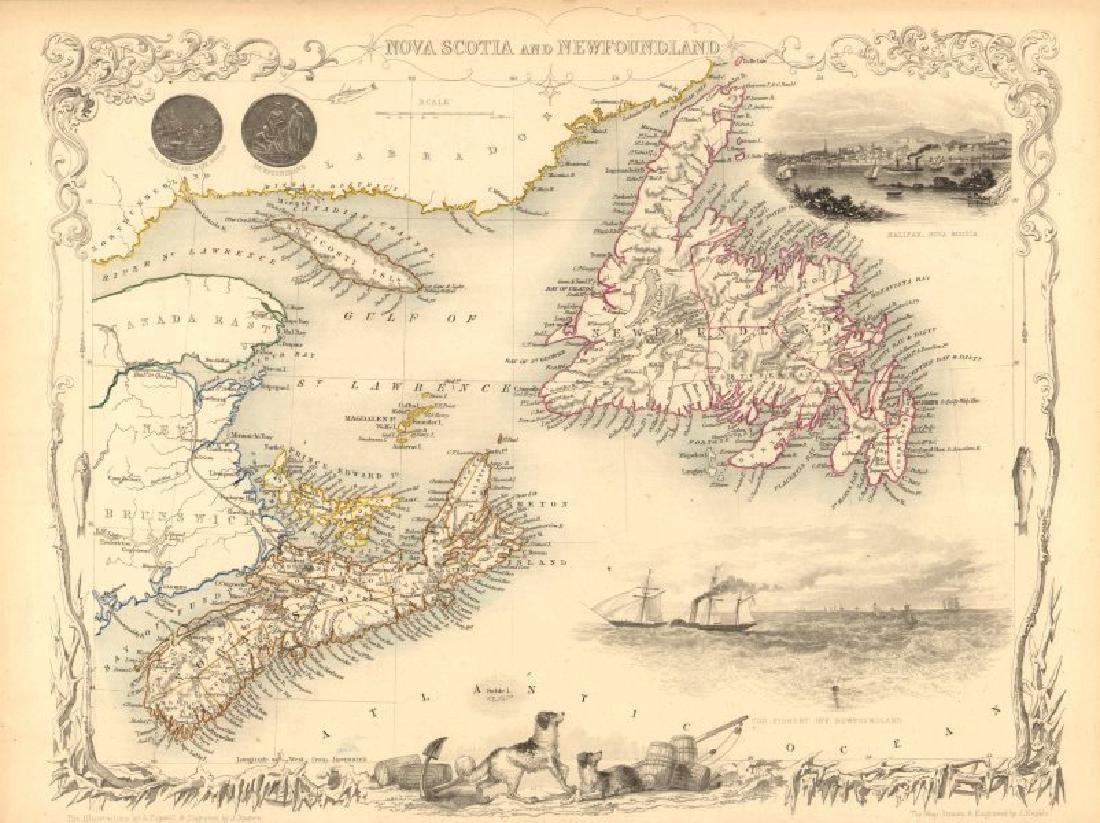Tallis / Rapkin: Antique Map Nova Scotia & Newfoundland