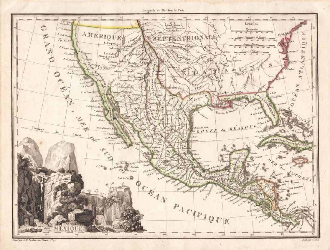 LaPie / Tardieu: Antique Map of US, Texas, Mexico, 1809