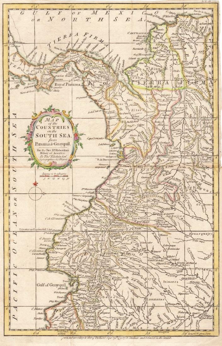 Kitchin: Antique Map of Panama/Colombia/Ecuador, 1795
