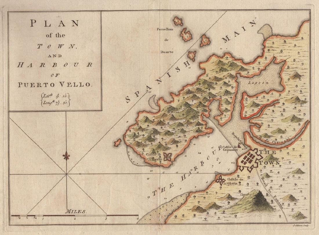 Speer: Antique Chart of Portobello, Panama, 1771