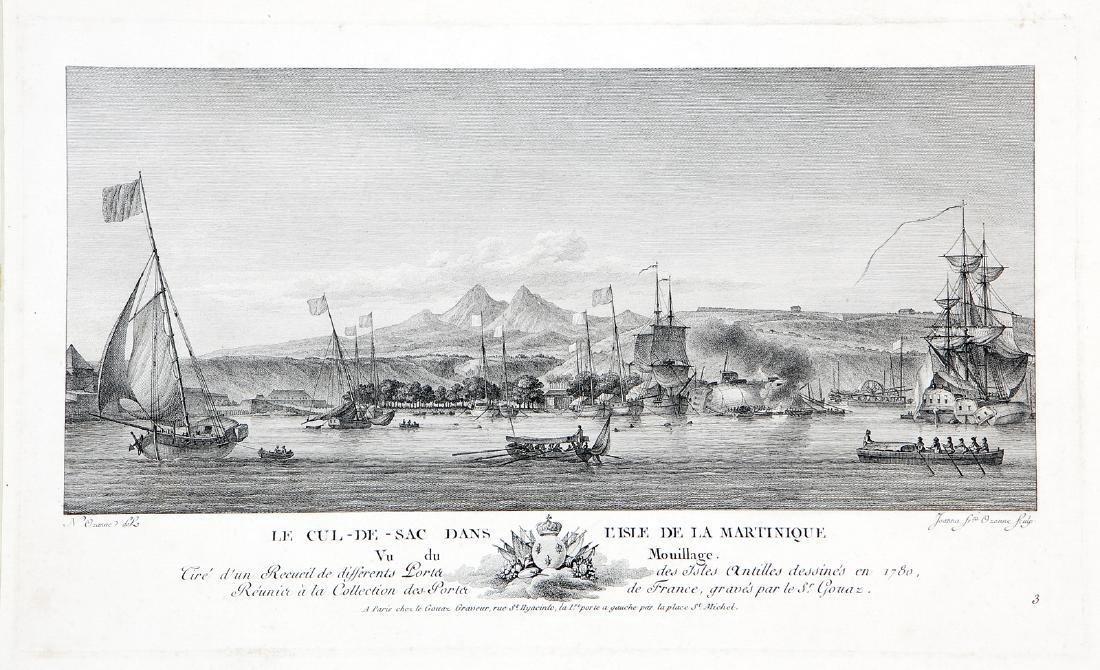 Ozanne: Antique View Cul-de-Sac Harbor, Martinique 1790