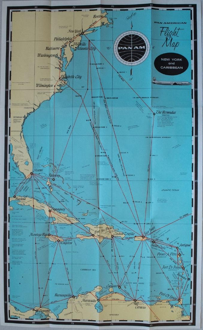 PanAm: Vintage Route Map of Caribbean, 1950s